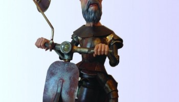"""Quijote"", sculpture. Scrap metal and e-poxi resin (SOLD)"