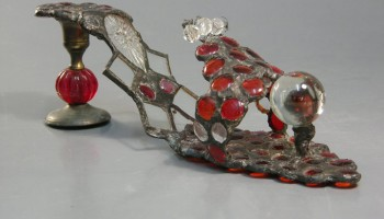 Glass shoe. Tiffany technique. Series: Remnants of Cinderella