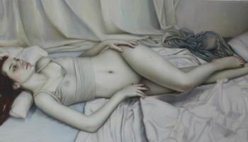 """""""Reve sous le toit de Paris"""", oil on canvas, 46 x 29 in"""