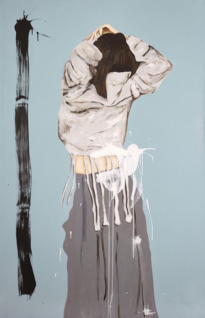 """Celeste"", Acrílico sobre tela, 130 x 200 cm."