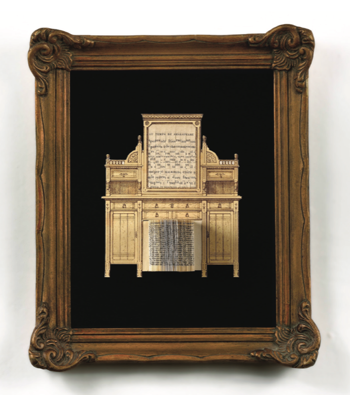 """Series """"L ́amueblement moderne"""" Hand cut and weaved paper of French engravings and books. 9 pieces between 20 x 16 and 9 x 9 inches. With antique french frames."""