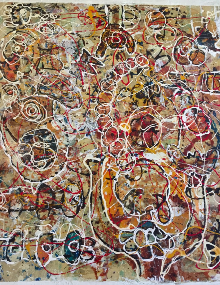 """""""I"""" Mix media on canvas 59 x 38 in"""