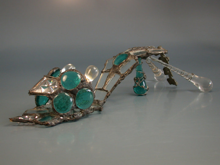 Glass shoe. Tiffany technique. Series: Remnants of Cinderella